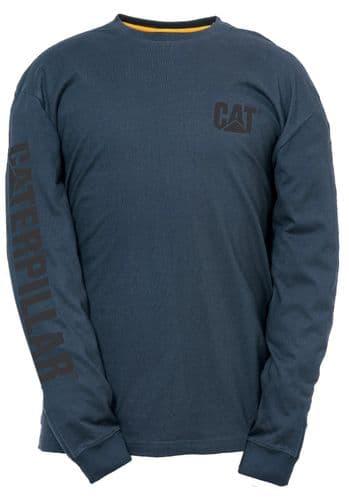 Caterpillar Trademark Banner Long Sleeve T-Shirt Tee Shirts Dark Marine
